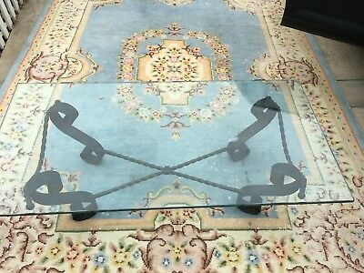 Mid Century Spanish Revival Wrought Iron rectangle Glass Coffee table scroll