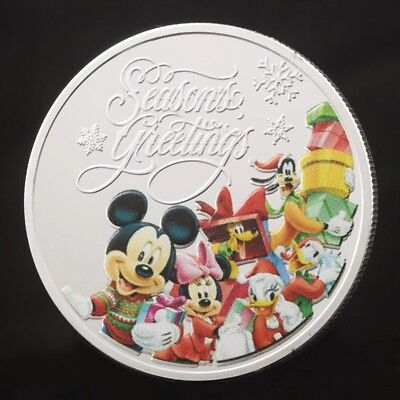 Christmas Coin/ Gift: Disney Mickey Mouse Gold/ Silver Plated Coin