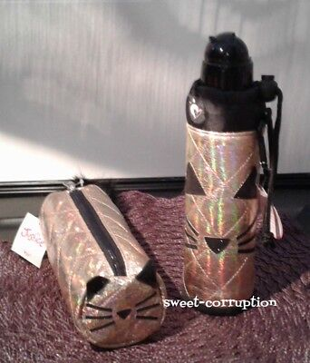 Justice Quilted CAT Pencil Case / Pouch & Water Bottle Matches Backpack New