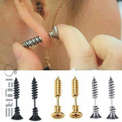 PAIR of Unisex Surgical Steel Screw Silver Piercing Gothic Punk Stud Earrings