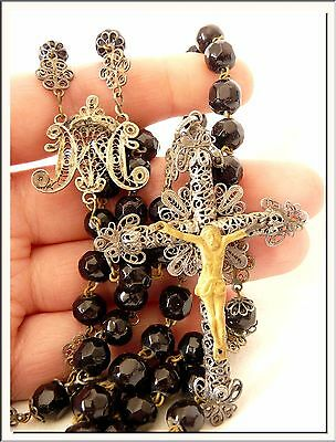 Superb Colonial Antique Jet Black Beads & Silver Filigree Rosary ! See More !!!