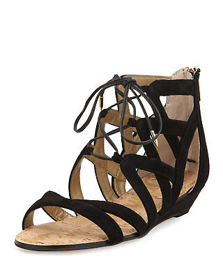 f7834646d3f4 Sam Edelman Dawson Suede Demi Wedge Flat Sandal Black 6.5 Gladiator Lace Up