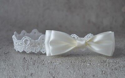 HANDMADE Baby hair band tiara with bow for baptism, flower girl, christening UK