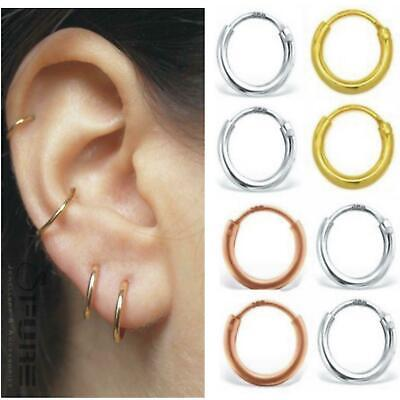 2Pcs PAIR Genuine 925 Sterling Silver Tiny Hoop Ear Piercing Nose Lips Earrings