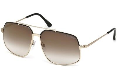 a7a4bd6854 Tom Ford TF 0439 01G Sunglasses Gold Black Aviator Brown Gradient Lens New  60mm