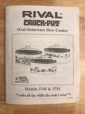 Rival Crock Pot: Oval Stoneware Slow Cooker Manual For Models 3745 & 3755