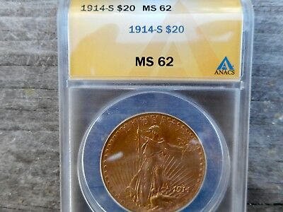 1914 S Double Eagle Graded By Anacs Ms 62