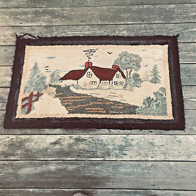 """Vintage Hand Hooked Area Scatter Rug Country Home Cottage 3' 5"""" x 2'"""