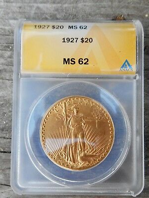 1927 Double Eagle Graded Ms 62 By Anacs