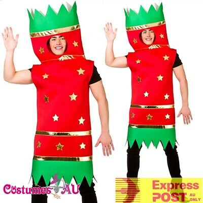 Mens Red Christmas Cracker Costume Funny Novelty Adult Xmas Bon Bon Tabard