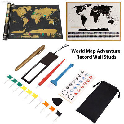 2D8D Personalized Travel Atlas Scratch Off World Map Line Planning Marking Tool