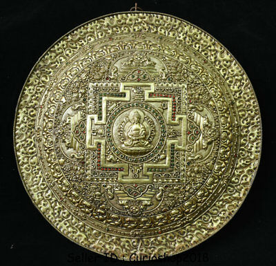 "14.4""Antique Old Tibetan Buddhism Copper Gilt Shakyamuni Buddha Wall Hang Tangka"