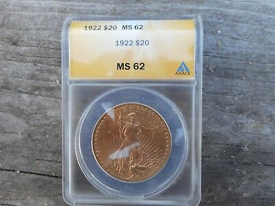 1922 Double Eagle Graded By Anacs Ms 62