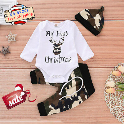 MY FIRST CHRISTMAS Outfits Infant Baby Boys Romper+Camo Pants Hat Xmas Clothes