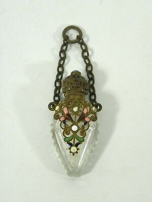 VTG French Cut Crystal and Enameled Chatelaine Perfume Bottle,c.1900,Victorian