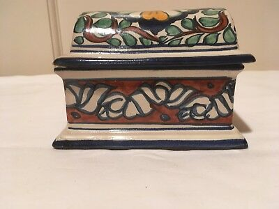 "Vtg. Domed Lid Abstract Mexican Pottery Trinket Box 5 1/8"" X 3 5/8"" X 3 1/2"" H"