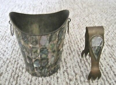 """Vintage Mother of Pearl Brass Ice Bucket with Tongs 6 1/4"""" Tall"""