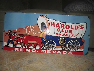 1960s Harold's Club Casino Porcelain Sign