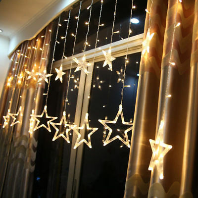 168LED Stars Christmas Hanging Curtain Lights Fairy String Home Party Xmas Decor