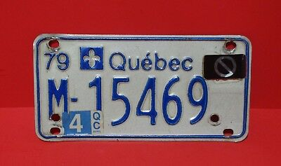 1979 Quebec Canada Motorcycle License Plate M-15469 w/Parking Sticker