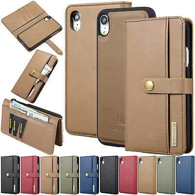 Detachable 2 in 1 Lambskin Card Flip Cover Stand Leather Case For Samsung iPhone