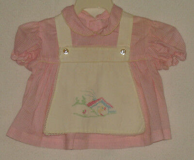 Vtg Infant Baby or Doll Handmade Embroidered Dress Pinafore