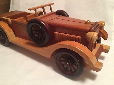 """Vintage Collectible WOODEN Old Model Car WOOD 15 """" Wide x 5"""" high Handcrafted"""