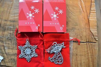 NEW! AVON 2017 (Snowflake) & 2018 (Angel) Collectible Pewter Christmas Ornaments