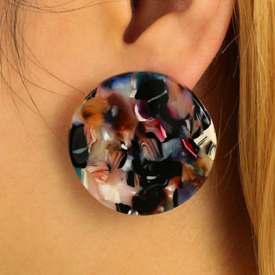 Acrylic Party Colorful Studs Big Fashion Hoop Ear Earrings Jewelry Women's Round