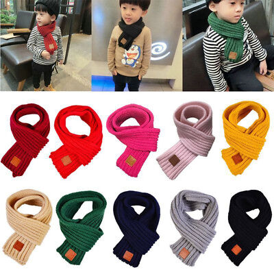 Soft Kids Boys Girls Knitted Scarf Thickened Winter Warm Wool Shawl Scarves Wrap