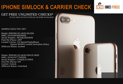 IPHONE SIMLOCK & CARRIER CHECK INSTANT to 8H