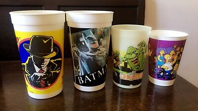 1990s Movie Cups Simpsons Ghostbusters Dick Tracey Batman