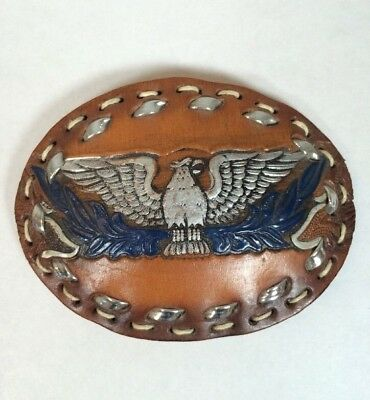 Vintage Flying Phoenix Soaring Eagle Hand Tooled Custom Leather Bird Belt Buckle