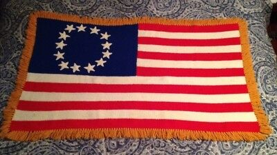 ?Vintage? American Flag 13 Colony Patriotic USA Crocheted Blanket Afghan Hipster