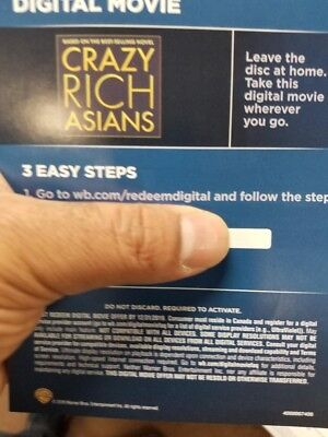 Crazy Rich Asians (2018) WARNER Digital HD code only [Valid in Canada only]