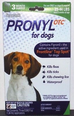 Sergeants Pronyl OTC for Dogs (22-44 lbs) 3 Month Supply - Brand New