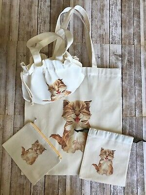 NEW: 4 Canvas Bag Set - Yawning KITTY CAT Kitten Smile - Cloth Pouches Tote Bag