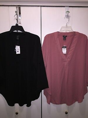 Rue 21 Womens XL Tops Lot Of 2 Shirts Black Pink 3/4 Sleeves New
