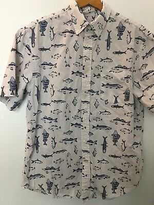 344e6897 Merona Button-Down Fish Shirt Men's MEDIUM Bass Perch Walleye Pike  Freshwater