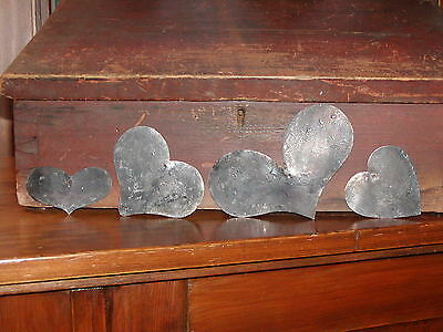 Primitive Early 18th ~ 19th C. Style 4 Tin Heart Quilting Template Patterns