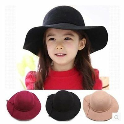 Beautiful Bowknot Wide Large Brim Girls Kids Summer Beach Sun Hat Straw Cap RU
