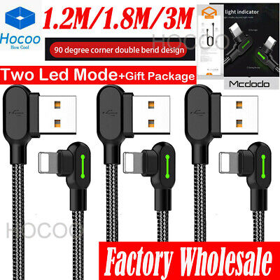 3XLOT 1.2/1.8M 90 Degree Led Right Angle USB Charger lightning Cable iPhone 8 XR