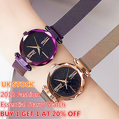 Starry Sky Watch Magnet Strap Free Buckle Stainless Steel Women Gift Christmas