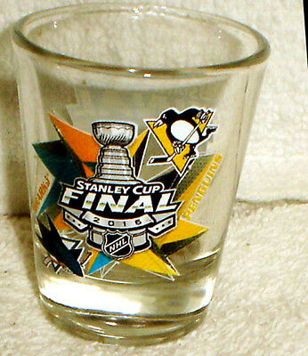 cf2534364 2016 STANLEY CUP FINALS Shot GLASS PITTSBURGH PENGUINS SAN JOSE SHARKS NEW