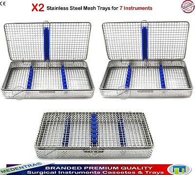 Set of 2 Surgical 7 Instruments Mesh Wire Trays Sterilization Cassettes Racks CE
