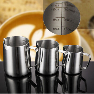 Stainless Steel  Milk Frothing Jug Espresso Latte Coffee Cup Foam Container UK