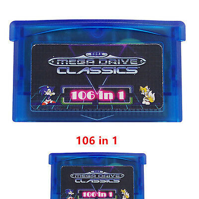 GBA SMS 106 in1 Classic Games for Game Boy Advance SP NDS Micro Player Multicart