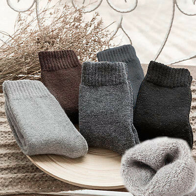 1Pair Mens Combed Wool Solid Dress Casual Winter Warm Thick Socks Breathable #B