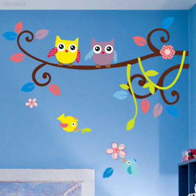 5BFD Owl Branch Tree Wall Sticker Kids Room Stickers Mural Decoration Decor Cute