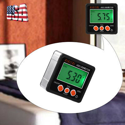 Digital LCD Protractor Angle Finder Bevel Level Box Inclinometer Meters Magnetic